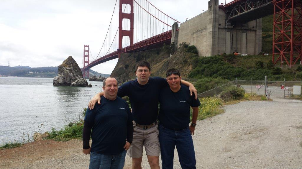 CA Aftermath team in front of Golden Gate Bridge.
