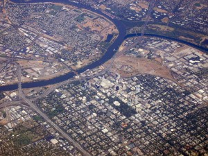Aerial view of Sacramento, CA.