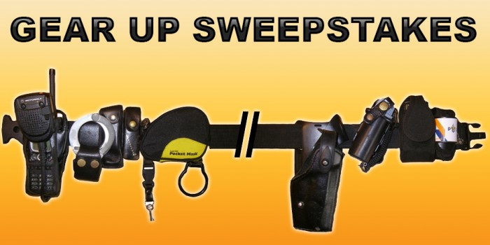 Aftermath Gear Up Sweepstakes banner with tactical belt.