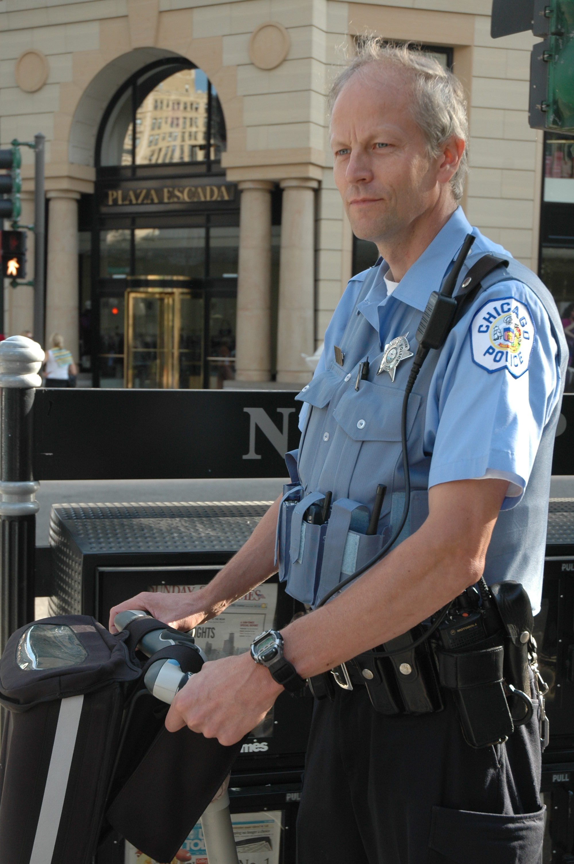 Police Officer Brett Gustafson riding segway in 2005.