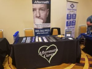 Aftermath booth at Dr. Avolt Training Conference in Indianapolis.