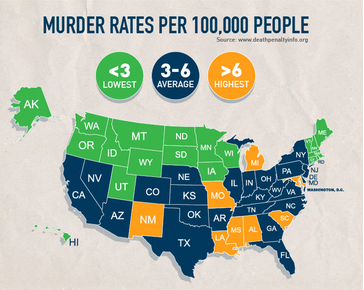 Homicide Map and murder rates in the U.S.