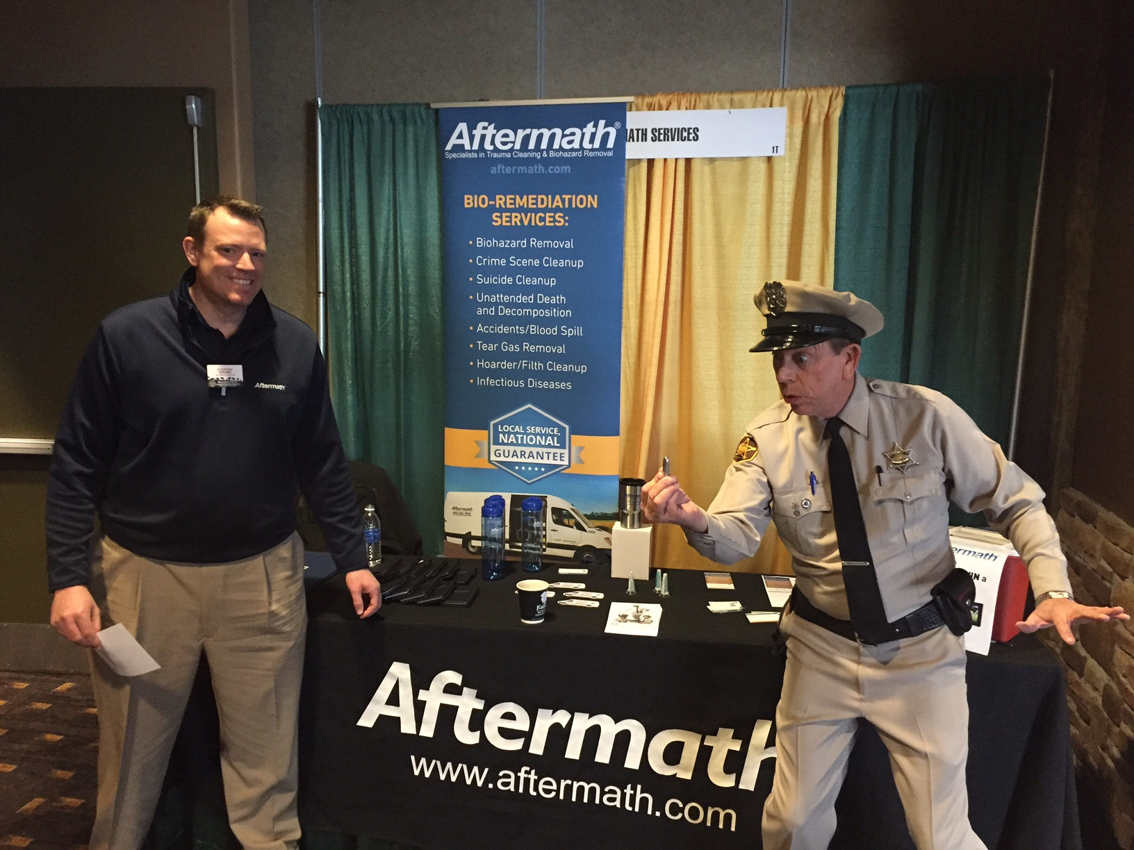 Aftermath booth at police conference.