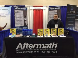 Aftermath booth at PLRB Claims Conference in Boston.