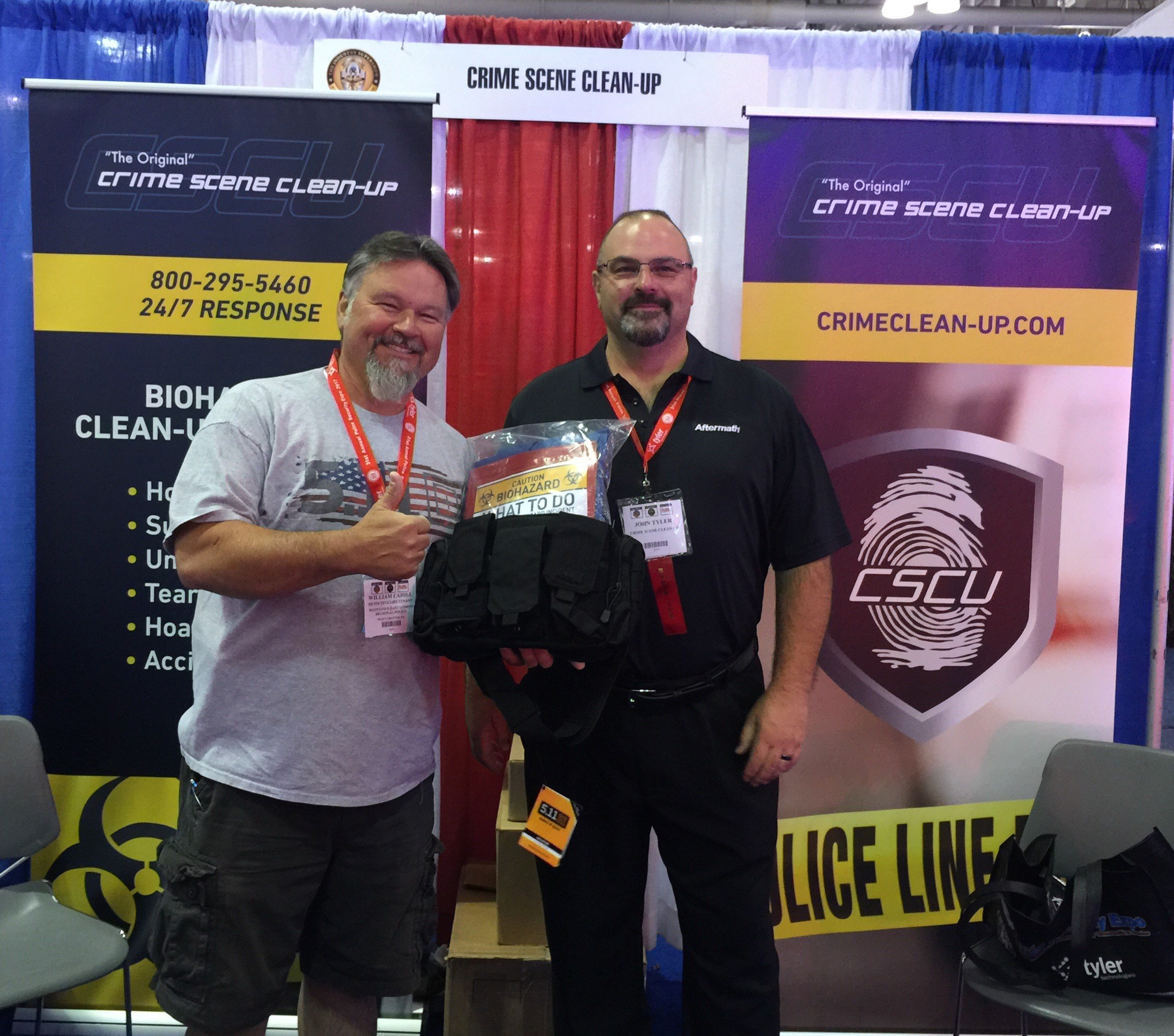 Police and Security Expo: Weston PD member poses with tactical bag.