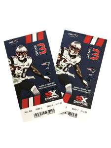 Tickets to Patriots v Panthers game.