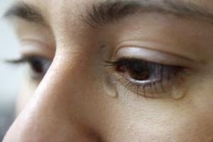 Close up of woman crying.