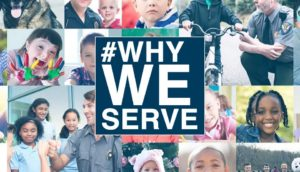 2017 #whyweserve header with assorted images of first responders and kids.