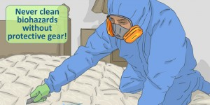 Bloody mattress illustration: never clean biohazards without protective gear.