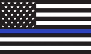 Flag with thin blue line running through the middle of the flag.
