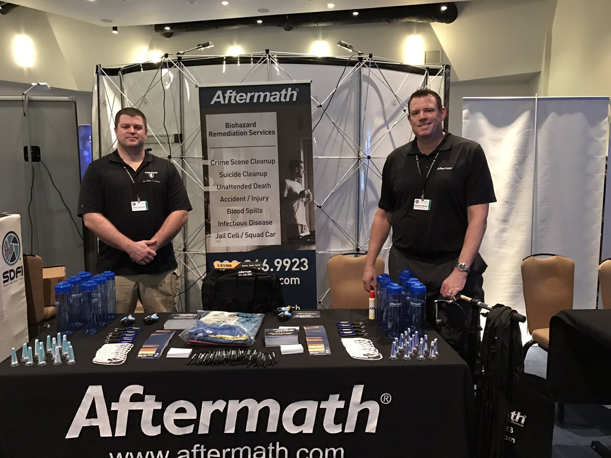 Aftermath booth at CA Homicide Inv. Assoc. Conference.