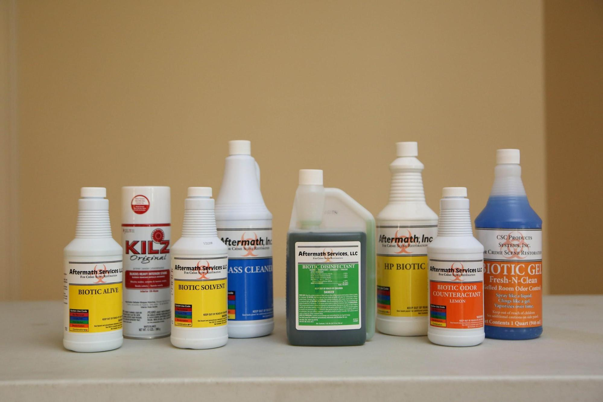 image of cleaning products on a table