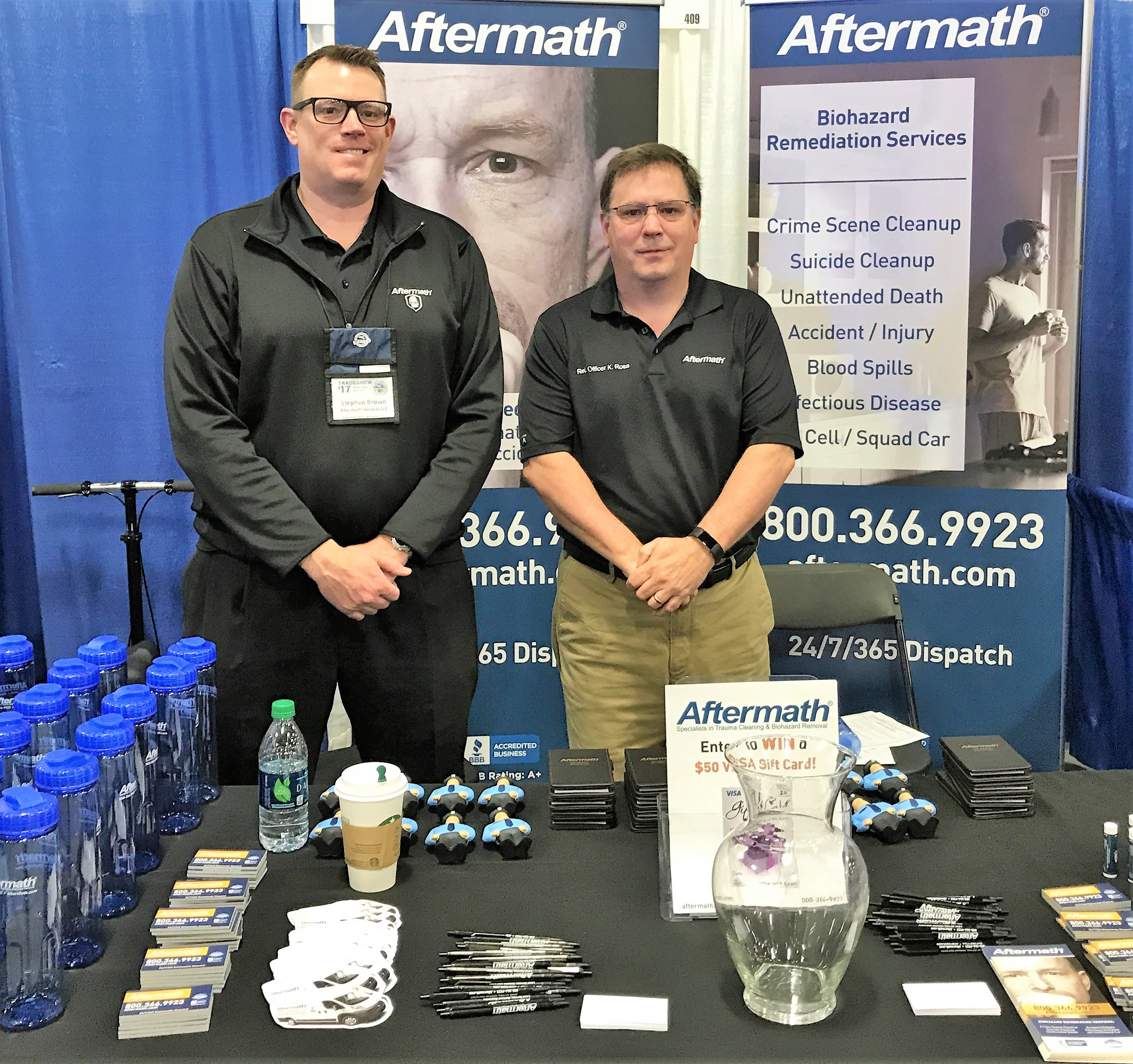 Aftermath booth at a conference