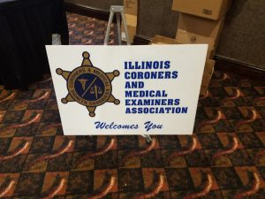Illinois Coroners and Medical Examiners Assoc. welcome sign.