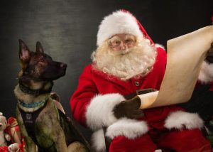 K9 Draego visits with Santa (photo from Draego's Facebook page)