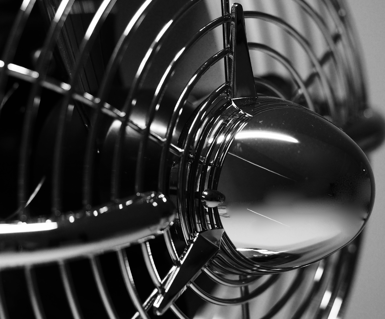 black and white rotating fan