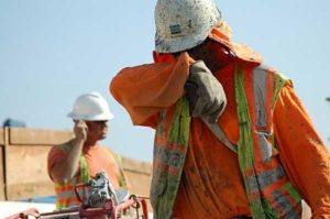 Construction Worker in Heat Stress.