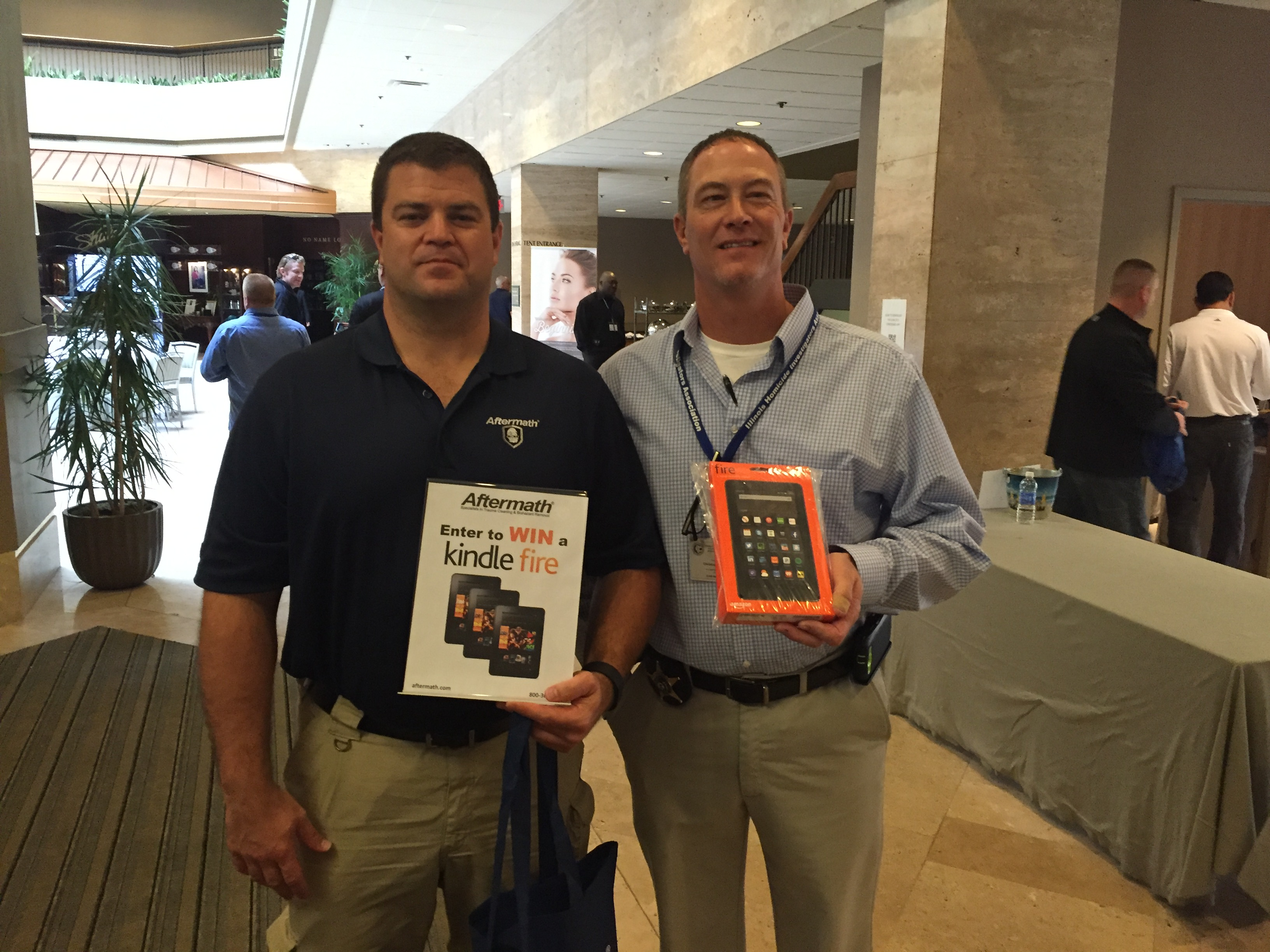 Winners of Kindle Fire giveaway at Illinois Homicide Inv. Assoc. Conf.