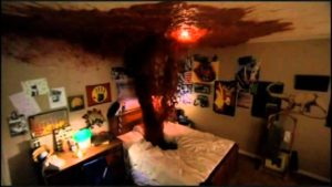 bedroom with blood geyser shooting from bed to ceiling