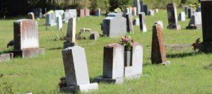 wide shot of old gravestones in a graveyard