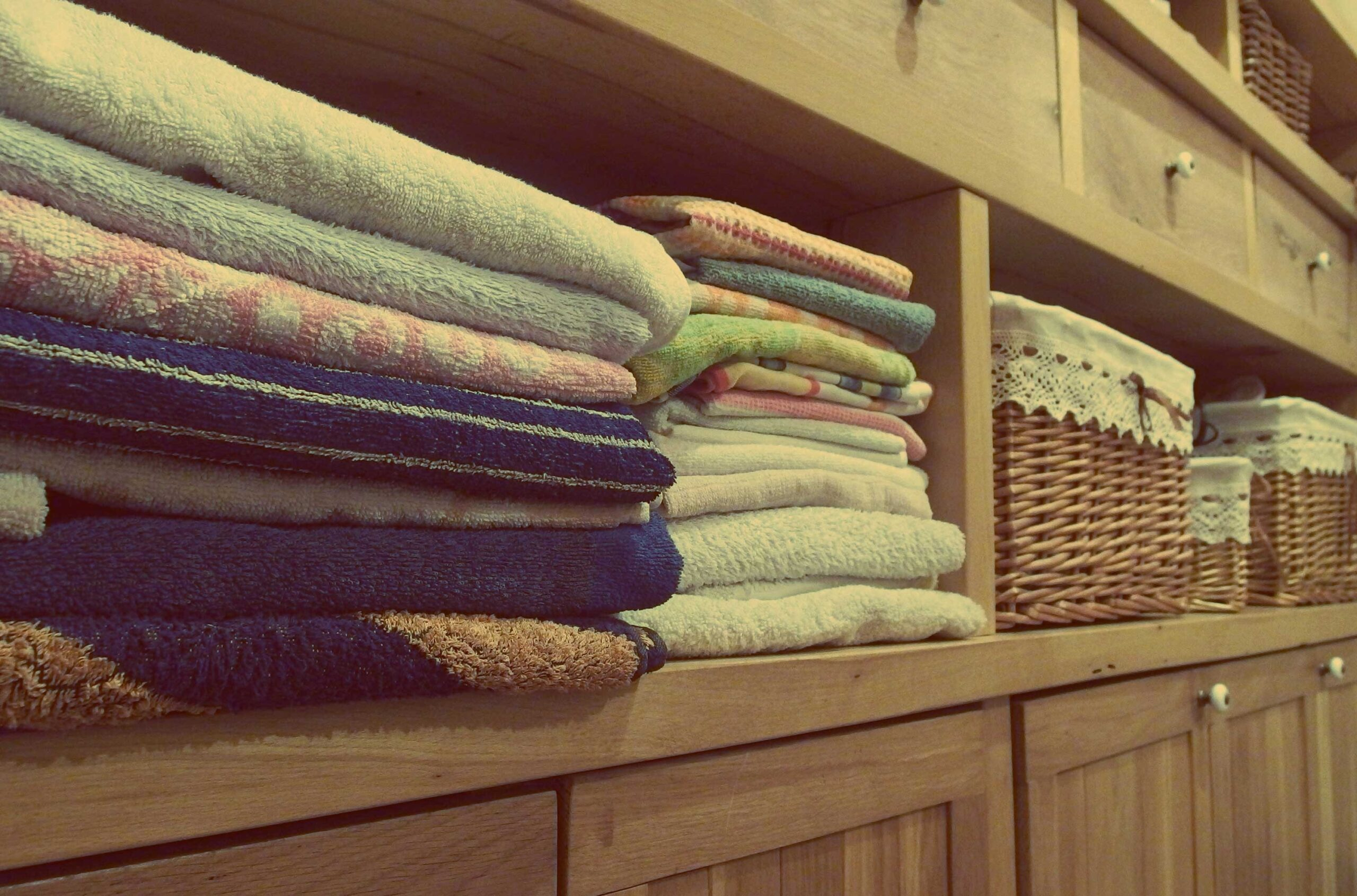 neatly organized linen closet