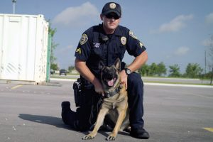 K9 from Pfluggerville, TX with handler.