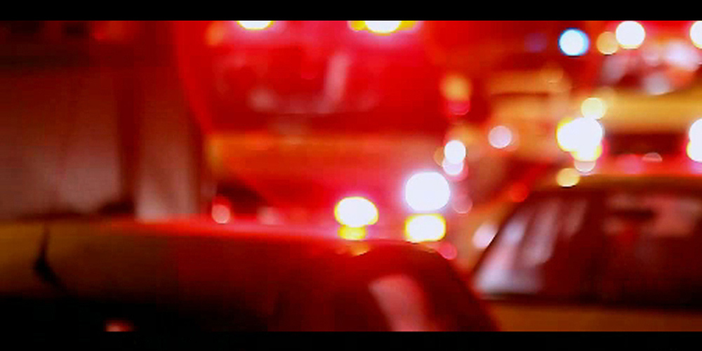 Blurred shot of cars.