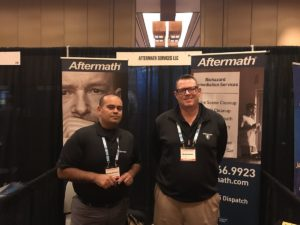 Aftermath booth at Vegas International Assoc. of Coroners & Medical Examiners Conference 2017.