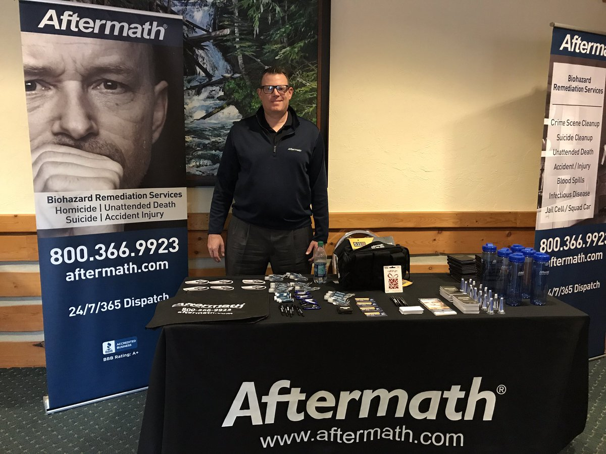 Aftermath booth at Washington Coroners and Medical Examiners Conference.